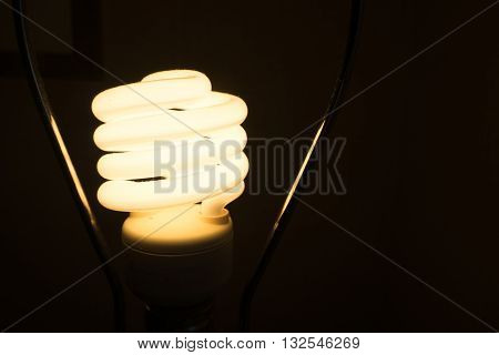 luminous Fluorescent Spiral lamp bulb turn on bright in dark place. like found idea from thinking in unclear situation, solve the problem or way to be creative and success