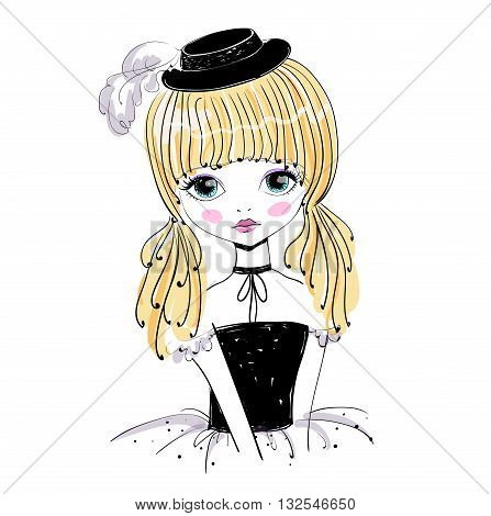 Beautiful romantic girl vector Illustration. Cute girl in a black hat performer singer dancer ballerina. Original illustration in vintage style.