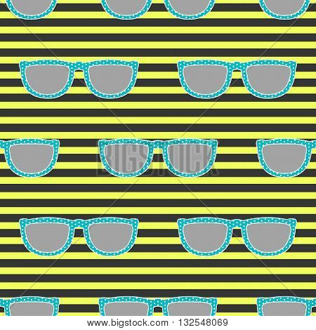 Pop sunglasses retro seamless vector pattern in neon yellow and blue colors. Hipster blue eyewear on neon yellow bright and black stripe background.