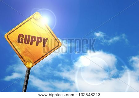 guppy, 3D rendering, glowing yellow traffic sign
