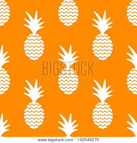 Pineapple simple vetor seamless background. Textile fabric orange ananas and white pattern. Baby simple apparel and linen design.