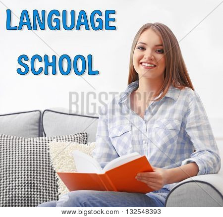 Language school concept with young woman at home