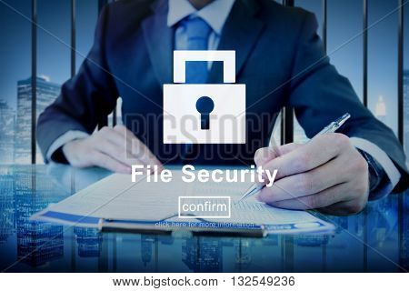 Information File Data Digital Security Protection Concept