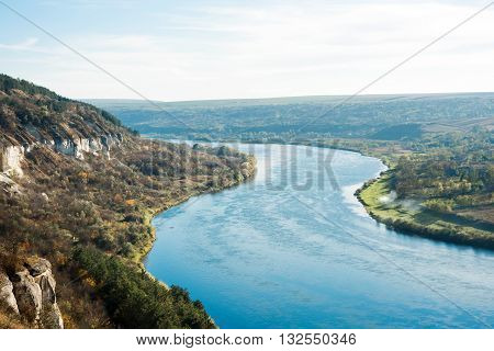 Dniester river Moldova green, top, view, wide, scope