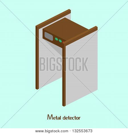 Frame metal detector at the airport or train station. Isometric vector illustration
