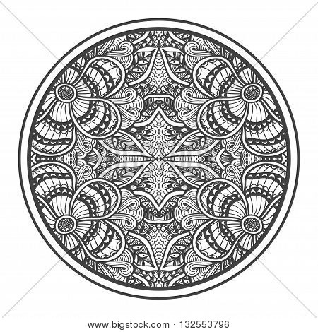 Background   with Zen-doodle flowers or  Zen-tangle  pattern black on white in circle  for coloring page or relax coloring book or wallpaper or for decorate package clothes