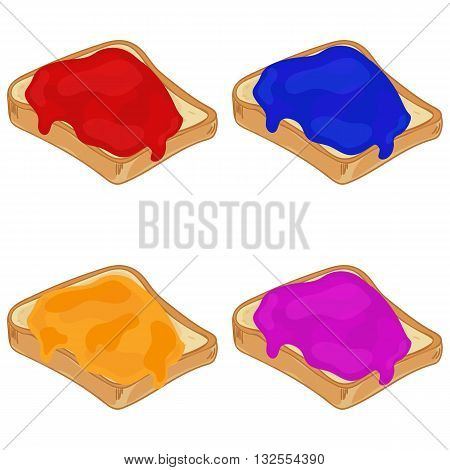 Set of sliced white bread with sweet jam. Jelly sandwich. Bread with jam. Vector illustration.