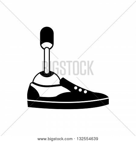 Prosthetic leg icon in simple style isolated on white background