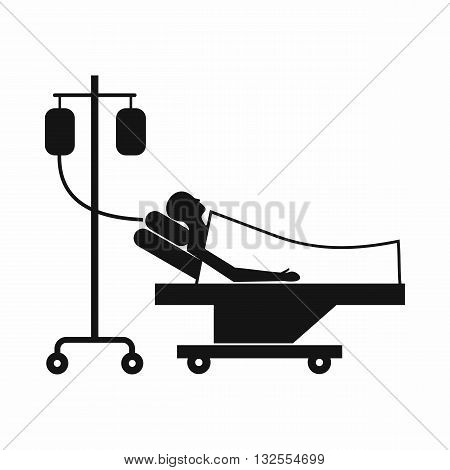Patient in bed on a drip icon in simple style isolated on white background