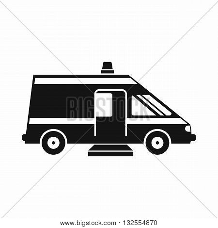 Ambulance icon in simple style isolated on white background
