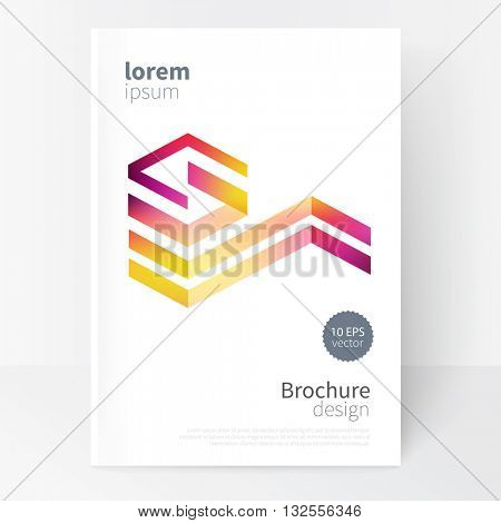Creative concept design element. Vector set abstract geometric background red, purple and yellow Diagonal lines Modern White business brochure cover template