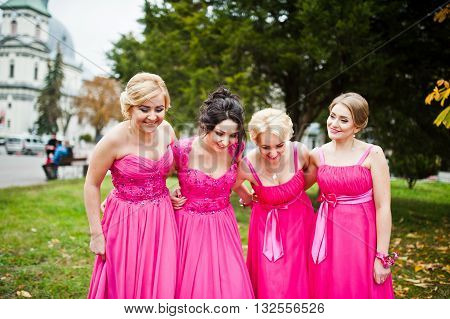 Stylish Bridesmaids In Pink Dresses Background Yellow Trees