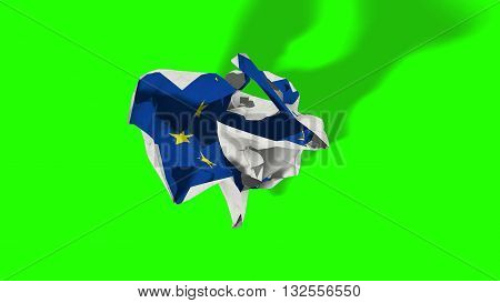 brexit rolling crumpled paper with european flag schengen eurozone crisis chroma key green screen escape from europe united concept