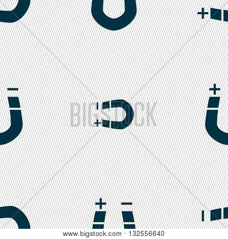 Horseshoe Magnet, Magnetism, Magnetize, Attraction Icon Sign. Seamless Pattern With Geometric Textur