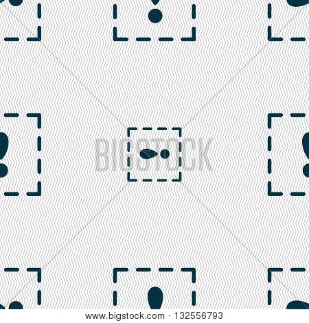 The Exclamation Point In A Square Icon Sign. Seamless Pattern With Geometric Texture. Vector