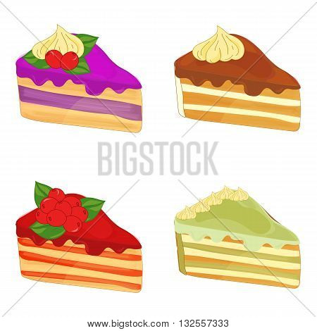 Set of tasty cakes. Sweet dessert design. Piece of cake with berries. Piece of pistachio cake. Piece of chocolate cake.