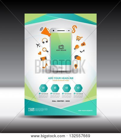 Green business brochure flyer design layout Magazine Ads Mobile infographics