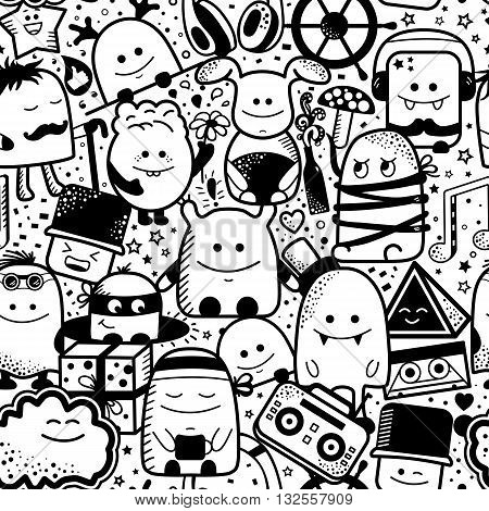 Vector seamless pattern with funny monsters. Cool hand drawn characters on pink white background. Cartoon hand drawn doodles, children's seamless background. Set of black and white unusual creatures