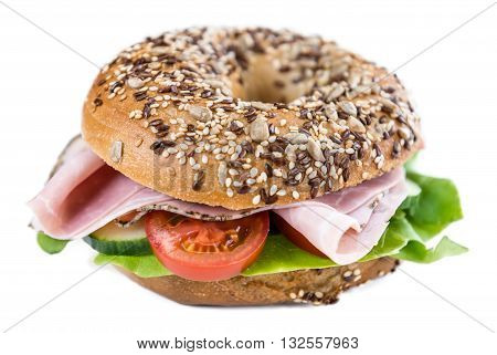 Bagel With Ham (isolated On White)