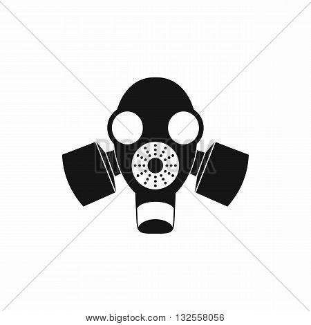 Black gas mask icon in simple style isolated on white background