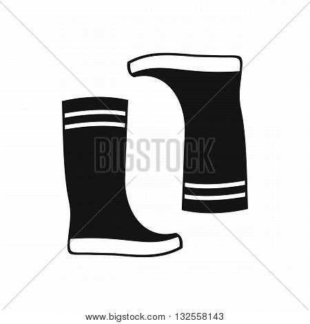 Rubber boots icon in simple style isolated on white background