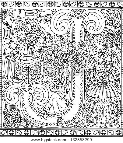 Adult Coloring Book Poster Alphabet Letter J Black and White Vector Illustration