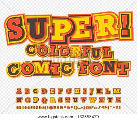 Yellow-red colorful high detail comic font. Alphabet in style of comics, pop art. Multilayer funny letters and figures for decoration of kids' illustrations, websites, posters, comics, banners