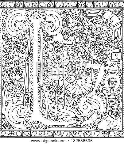 Adult Coloring Book Poster Alphabet Letter L Black and White Vector Illustration