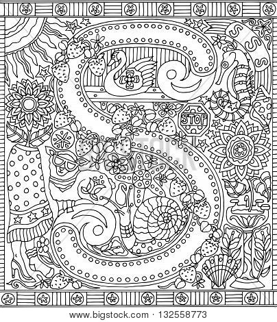 Adult Coloring Book Poster Alphabet Letter S Black and White Vector Illustration
