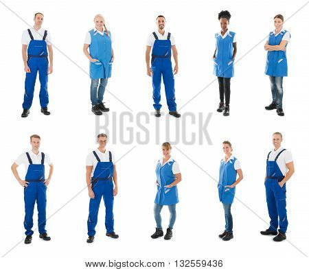 Set Of Happy Janitors Standing Against White Background