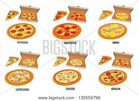 Set whole and slice pizza in open white box. Pepperoni Hawaiian Margherita Mexican Seafood Capricciosa. Vector isolated flat illustration for poster menus brochure web and icon