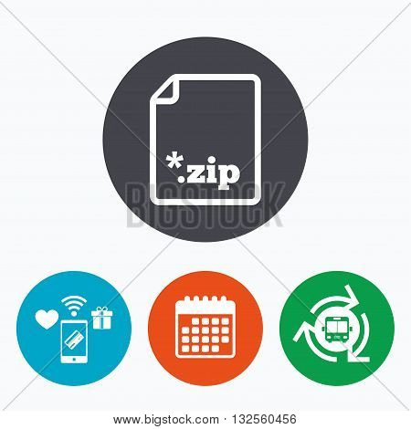 Archive file icon. Download compressed file button. ZIP zipped file extension symbol. Mobile payments, calendar and wifi icons. Bus shuttle.