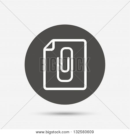File annex icon. Paper clip symbol. Attach symbol. Gray circle button with icon. Vector