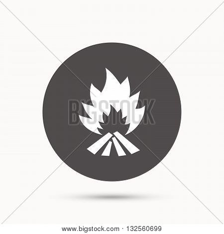 Fire flame sign icon. Heat symbol. Stop fire. Escape from fire. Gray circle button with icon. Vector