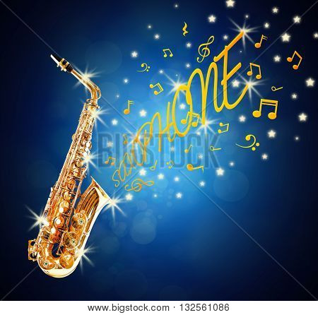 Golden saxophone and flowing notes against blue background