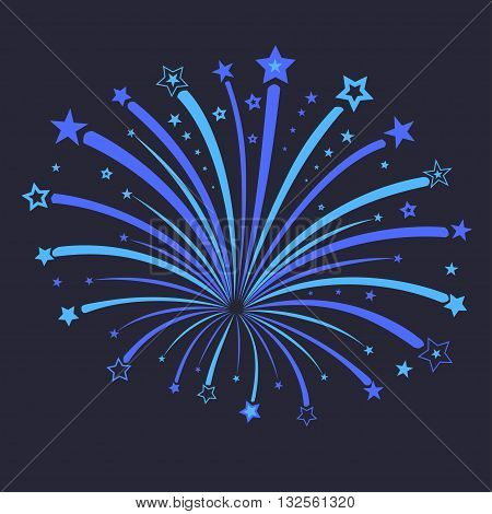 Firework with blue stars against night, star burst in the sky, holiday pyrotechnics explosion, anniversary carnival New Year celebration - vector illustration