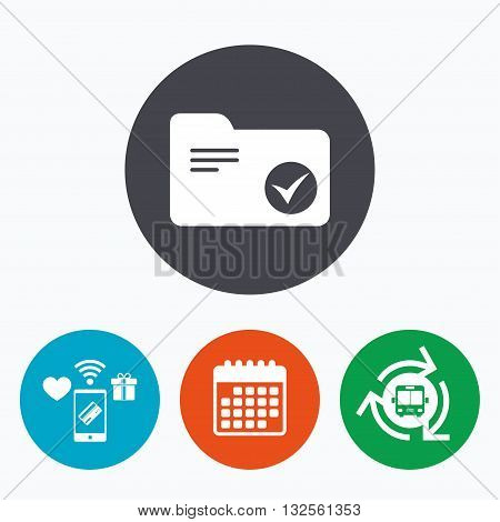 Select document folder sign. Accounting binder symbol. Bookkeeping management. Mobile payments, calendar and wifi icons. Bus shuttle.