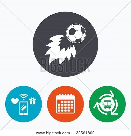 Football fireball sign icon. Soccer Sport symbol. Mobile payments, calendar and wifi icons. Bus shuttle.