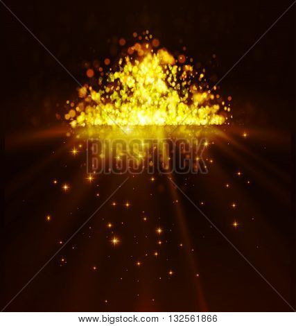 Bokeh background. Mirror abstract background with yellow defocused lights and stars