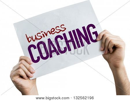 Business Coaching placard isolated on white background