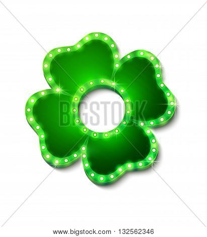 Shine lucky clover with shadow on white background for your design, vector