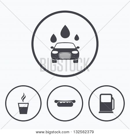 Petrol or Gas station services icons. Automated car wash signs. Hotdog sandwich and hot coffee cup symbols. Icons in circles.