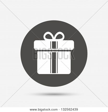 Gift box sign icon. Present with ribbons symbol. Gray circle button with icon. Vector