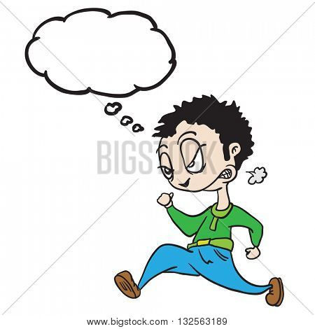 angry man with thought bubble running cartoon