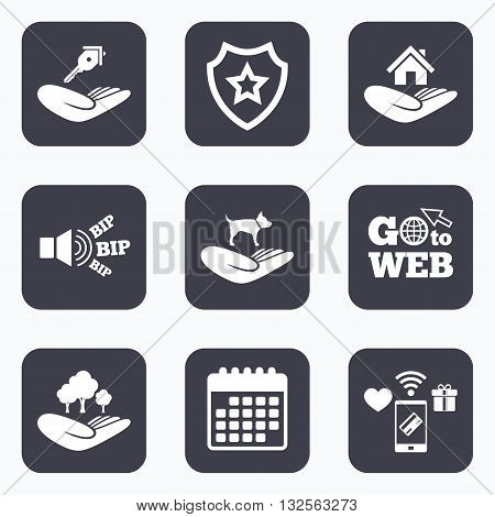 Mobile payments, wifi and calendar icons. Helping hands icons. Shelter for dogs symbol. Home house or real estate and key signs. Save nature forest. Go to web symbol.