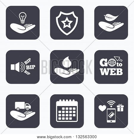 Mobile payments, wifi and calendar icons. Helping hands icons. Intellectual property insurance symbol. Delivery truck sign. Save nature leaf and water drop. Go to web symbol.