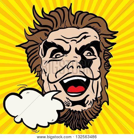 crazy face shout cartoon