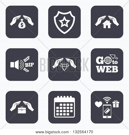 Mobile payments, wifi and calendar icons. Hands insurance icons. Money bag savings insurance symbols. Jewelry diamond symbol. House property insurance sign. Go to web symbol.