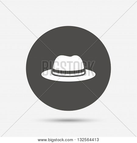 Top hat sign icon. Classic headdress symbol. Gray circle button with icon. Vector