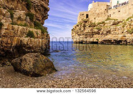 Adriatic coast.Polignano a Mare: 'Cala Porto' beach .Italy (Apulia)